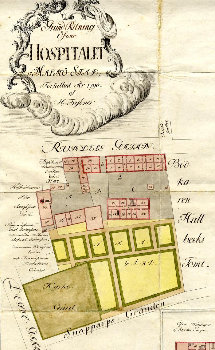 Karta över Malmö hospitals tomt 1700-tal, Landsarkivet i Lund